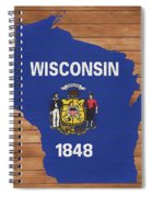 Wisconsin Rustic Map On Wood Spiral Notebook