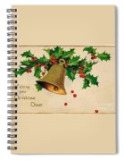 Wishing You Christmas Cheer Vintage Greetings Card Spiral Notebook