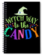 Witch Way To The Candy Halloween Funny Humor Colorful Spiral Notebook