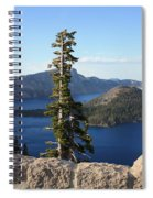 Wizard Island With Rock Fence At Crater Lake Spiral Notebook