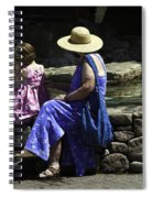 Woman And Child At Pond Spiral Notebook