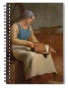 Woman Carding Wool Spiral Notebook