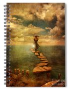 Woman Crossing The Sea On Stepping Stones Spiral Notebook