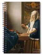 Woman Holding A Balance Spiral Notebook