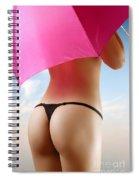 Woman In Bikini With A Pink Umbrella Spiral Notebook