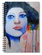 Woman In Blue Spiral Notebook