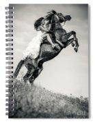 Woman In Dress Riding Chestnut Black Rearing Stallion Spiral Notebook