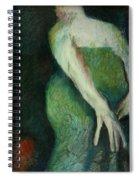 Woman In Green Spiral Notebook