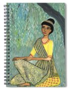Woman In Grey And Yellow Sari Under Tree Spiral Notebook