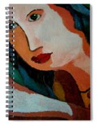 Woman In Orange And Blue Spiral Notebook