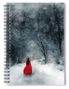 Woman In Red Cape Walking In Snowy Woods Spiral Notebook