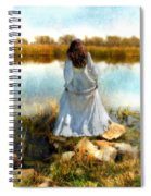 Woman In Victorian Dress By Water Spiral Notebook