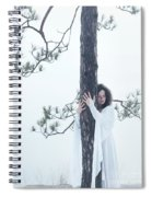 Woman In White Dress Hugging A Tree Spiral Notebook
