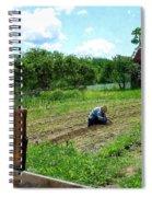Woman Planting Garden Near Barn Spiral Notebook
