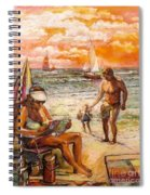 Woman Reading On The Beach Spiral Notebook