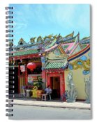 Woman Sits Outside Chinese Temple With Urn And Deity Statues Pattani Thailand Spiral Notebook
