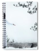 Woman Standing On A Cliff With Spread Hands Embracing The World Spiral Notebook