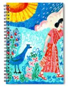 Woman With Apple And Peacock Spiral Notebook