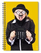 Woman With Electronic Calculator Spiral Notebook