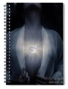 Woman With Glowing Full Moon Pendant On Her Chest Spiral Notebook
