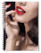 Woman With Red Lipstick Closeup Of Sensual Mouth Spiral Notebook