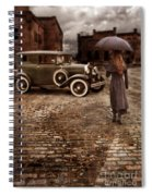 Woman With Umbrella By Vintage Car Spiral Notebook