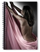 Woman Wrapped In Pink Reaching The Light Spiral Notebook