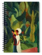Women In A Park With A White Parasol Spiral Notebook
