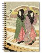 Women Walking Over A Bridge In Snow Spiral Notebook