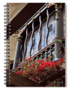 Wood Beams Red Flowers And Blue Window Spiral Notebook