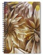Wood Carved Dahlia Spiral Notebook
