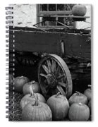 Wood Wagon And Pumpkins Black And White Spiral Notebook