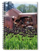 Woodburn Oregon - Tractor And Field Of Tulips Spiral Notebook