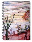 Wooded Beachfront With Fun Seekers Spiral Notebook