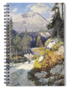 Wooded Landscape With A Path And A Mountain Beyond Spiral Notebook