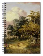 Wooded Landscape With Woman And Child Walking Down A Road  Spiral Notebook
