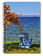 Wooden Chairs On Autumn Lake Spiral Notebook