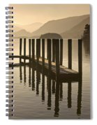 Wooden Dock In The Lake At Sunset Spiral Notebook