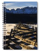 Wooden Fence And Sawtooth Mountain Range Spiral Notebook