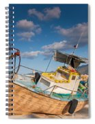 Wooden Fishing Boat On Shore Spiral Notebook