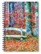 Wooden Park Bench In Dry Leaves  Spiral Notebook