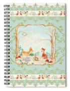 Woodland Fairy Tale - Aqua Blue Forest Gathering Of Woodland Animals Spiral Notebook