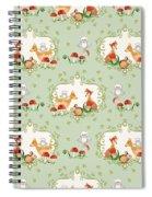 Woodland Fairy Tale - Mint Green Sweet Animals Fox Deer Rabbit Owl - Half Drop Repeat Spiral Notebook