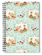 Woodland Fairy Tale - Sweet Animals Fox Deer Rabbit Owl - Half Drop Repeat Spiral Notebook