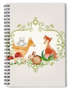 Woodland Fairytale - Grey Animals Deer Owl Fox Bunny N Mushrooms Spiral Notebook