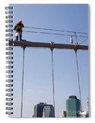 Worker On Top Of Brooklyn Bridge In New York City Spiral Notebook