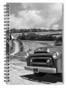 Down On The Farm- International Harvester In Black And White Spiral Notebook