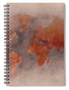 World Map Brown Spiral Notebook