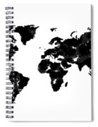 World Map In Black And White Spiral Notebook