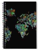 World Map Mandala Feathers 2 Spiral Notebook